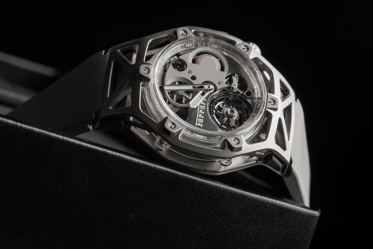 The Hublot Ferrari Techframe in white gold which was recently revealed in Geneva