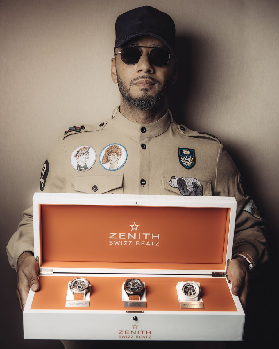 Multi-talented artist Swizz Beatz with the Zenith models that he developed together with the Swiss brand