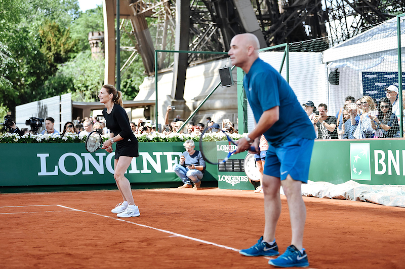 Stefanie Graf and Andre Agassi take to the court to challenge the Longines Future Aces