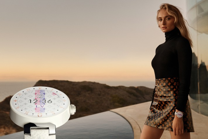 Louis Vuitton Launches New Ad Campaign For Tambour Horizon Watch Featuring Sophie Turner, Justin Theroux & More