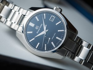 steel watches with blue dials: Grand Seiko Spring Drive SBGA375